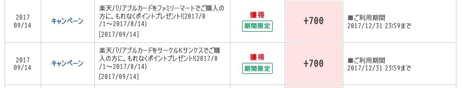 [12/12(火)〜12/25(月)まで]楽天バリアブルカード、10001円以上購入で700ポイント付与のキャンペーン[ファミリーマート/サンクス]